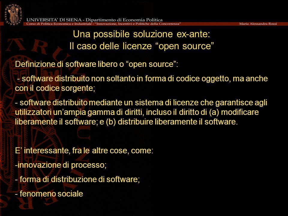 Una possibile soluzione ex-ante: Il caso delle licenze open source