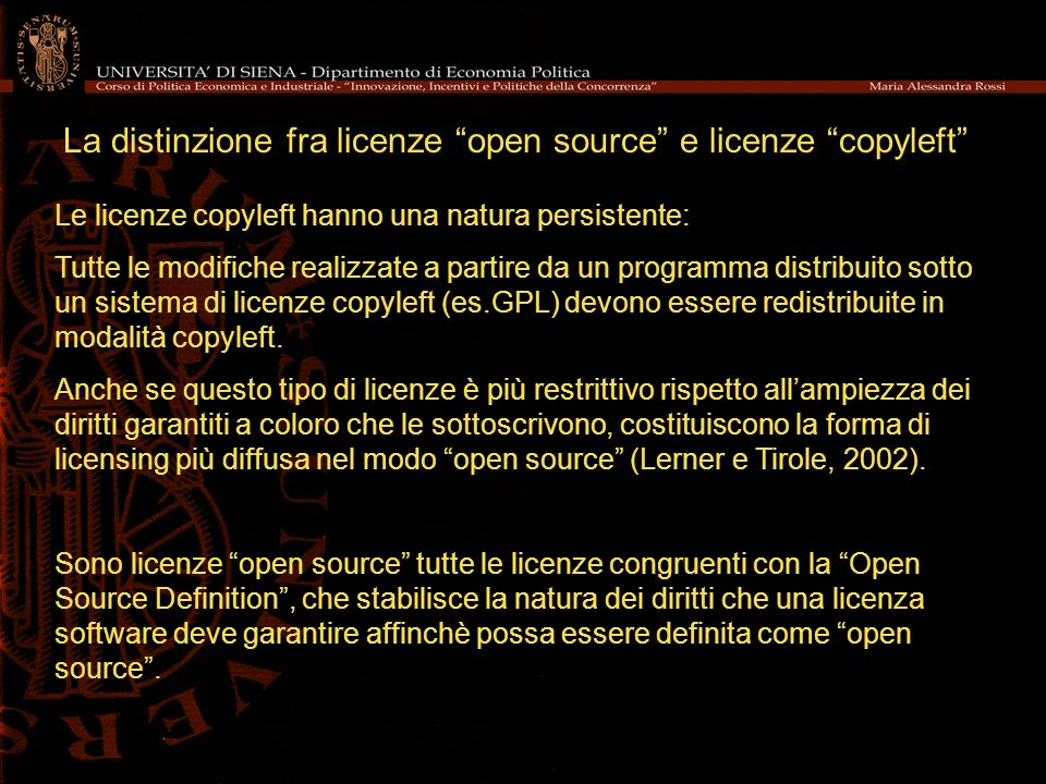 La distinzione fra licenze open source e licenze copyleft