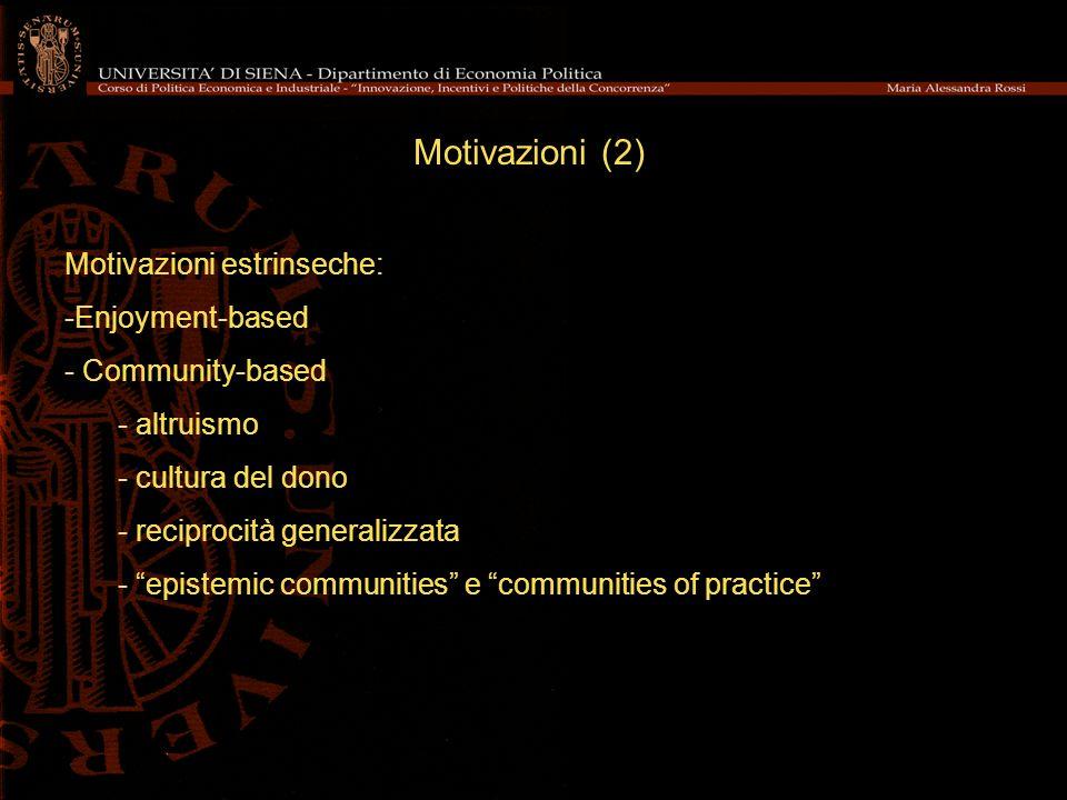 Motivazioni (2) Motivazioni estrinseche: Enjoyment-based