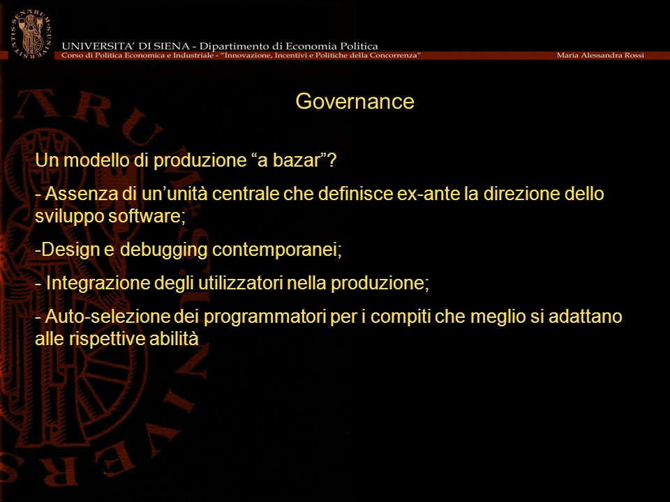 Governance Un modello di produzione a bazar