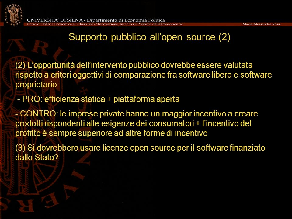 Supporto pubblico all'open source (2)