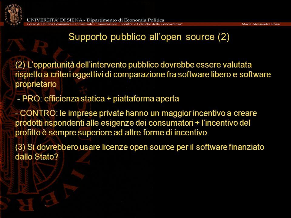 Supporto pubblico all'open source (2)