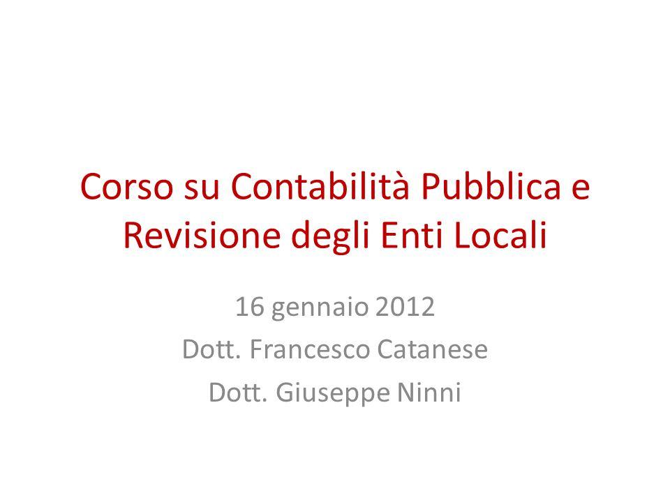 Corso su Contabilità Pubblica e Revisione degli Enti Locali