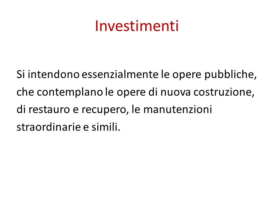Investimenti Si intendono essenzialmente le opere pubbliche,