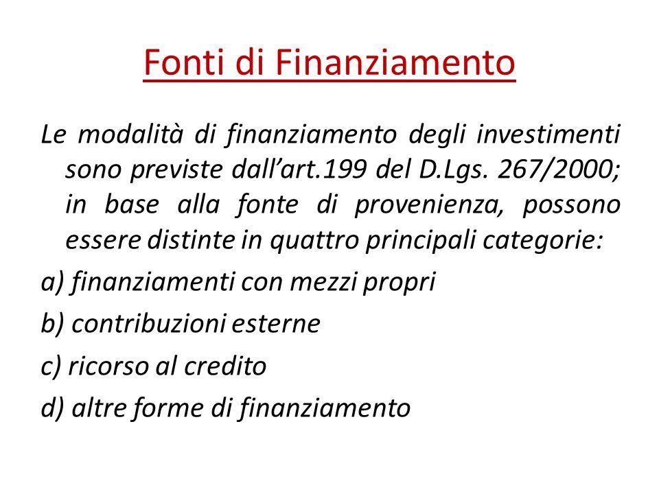 Fonti di Finanziamento