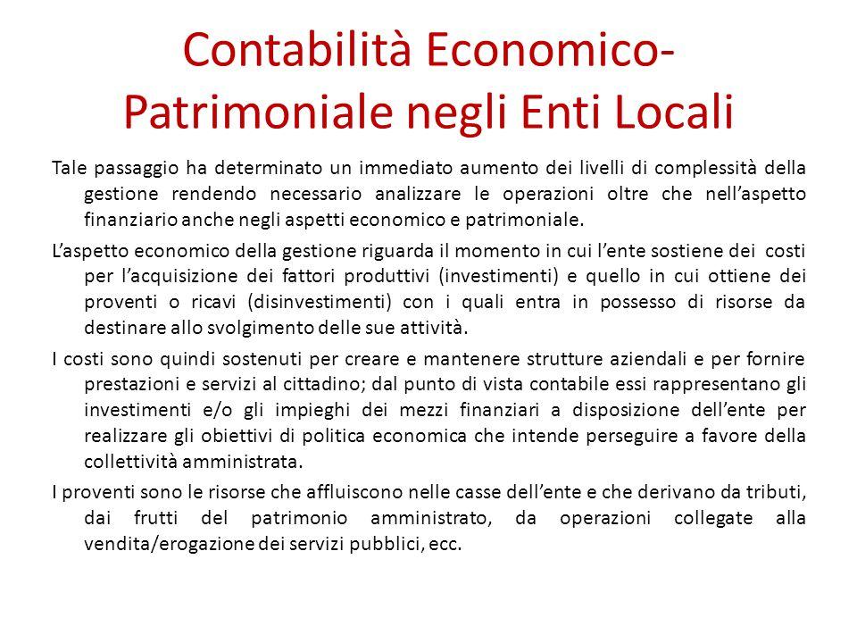 Contabilità Economico-Patrimoniale negli Enti Locali