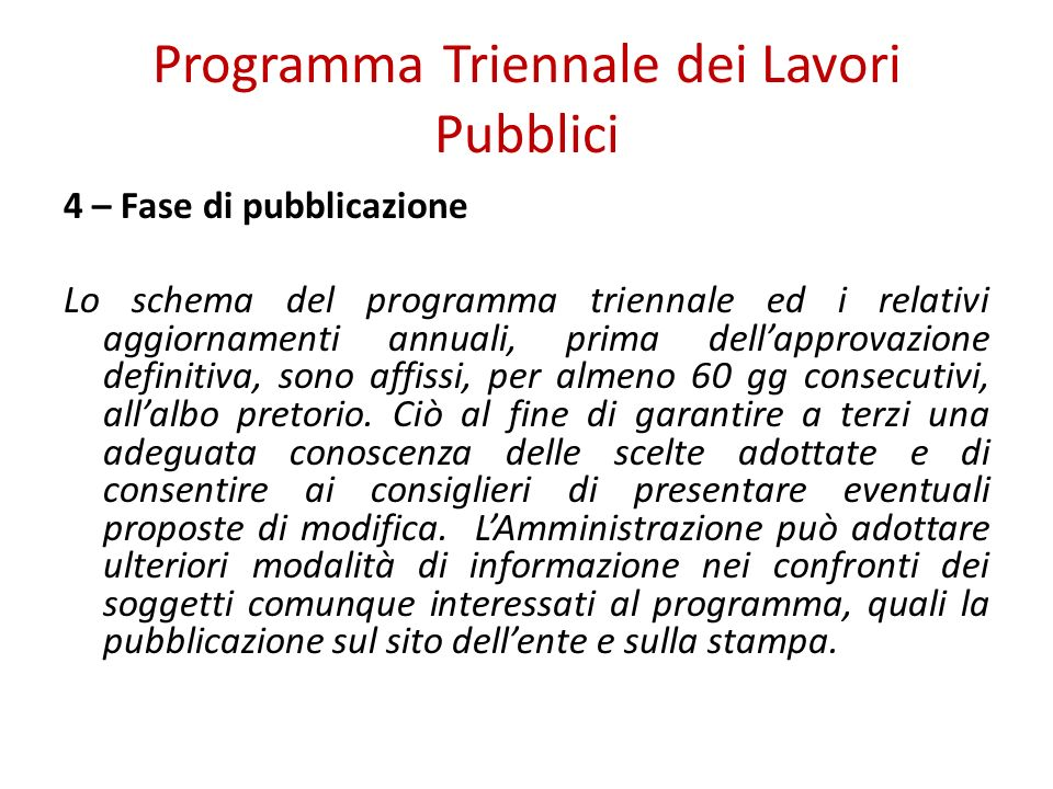 Programma Triennale dei Lavori Pubblici
