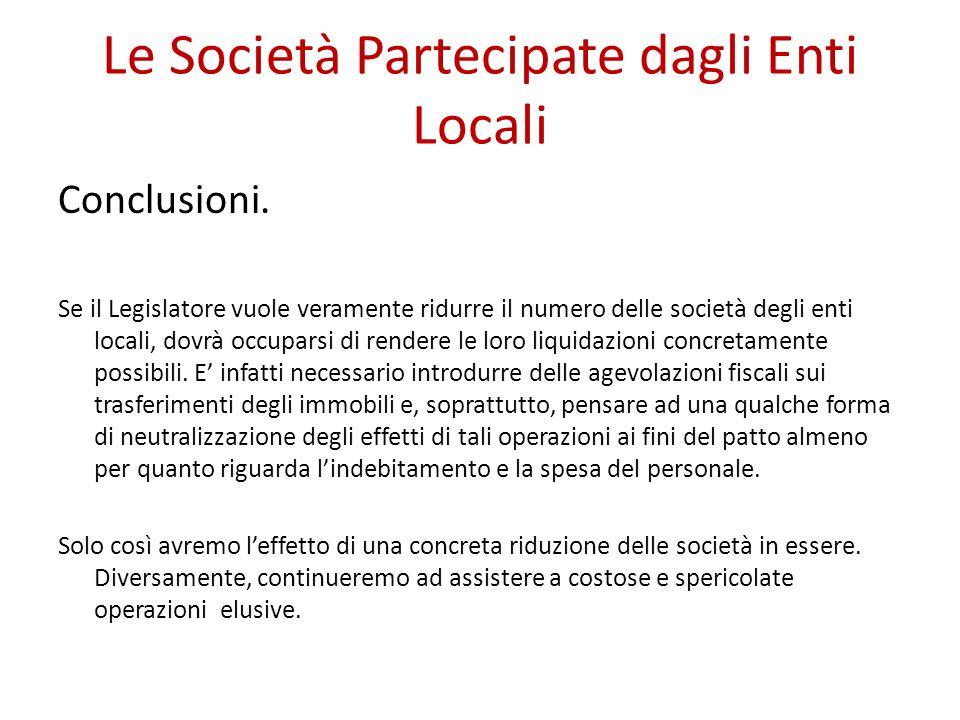 Le Società Partecipate dagli Enti Locali