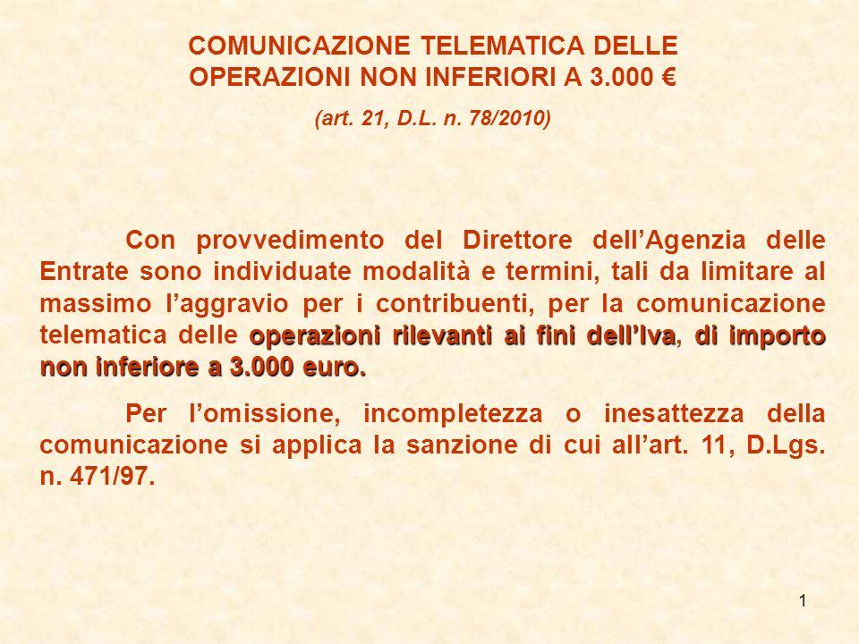 COMUNICAZIONE TELEMATICA DELLE OPERAZIONI NON INFERIORI A 3.000 €
