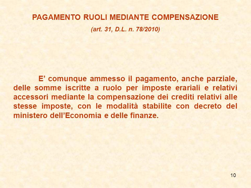 PAGAMENTO RUOLI MEDIANTE COMPENSAZIONE