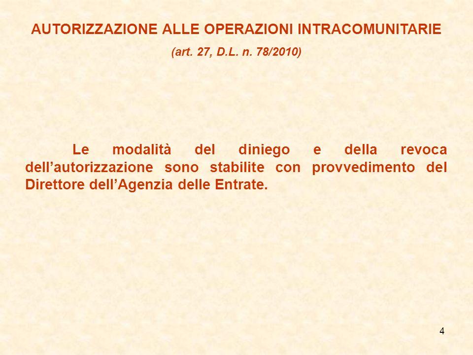 AUTORIZZAZIONE ALLE OPERAZIONI INTRACOMUNITARIE