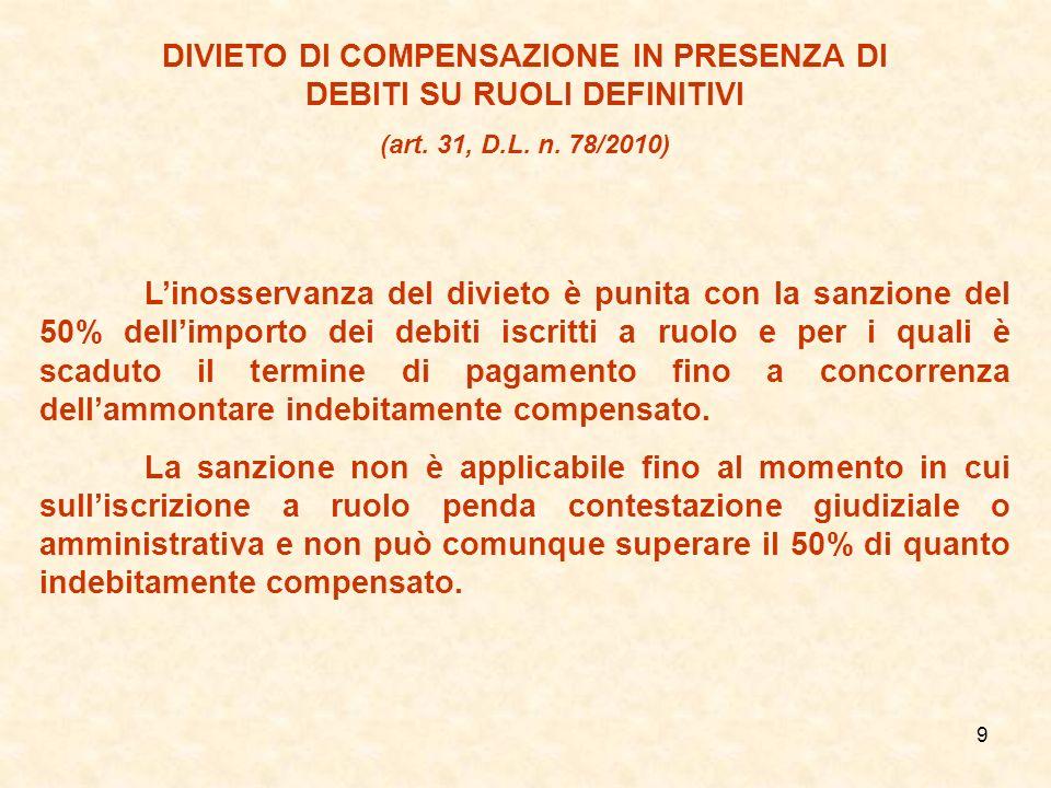 DIVIETO DI COMPENSAZIONE IN PRESENZA DI DEBITI SU RUOLI DEFINITIVI