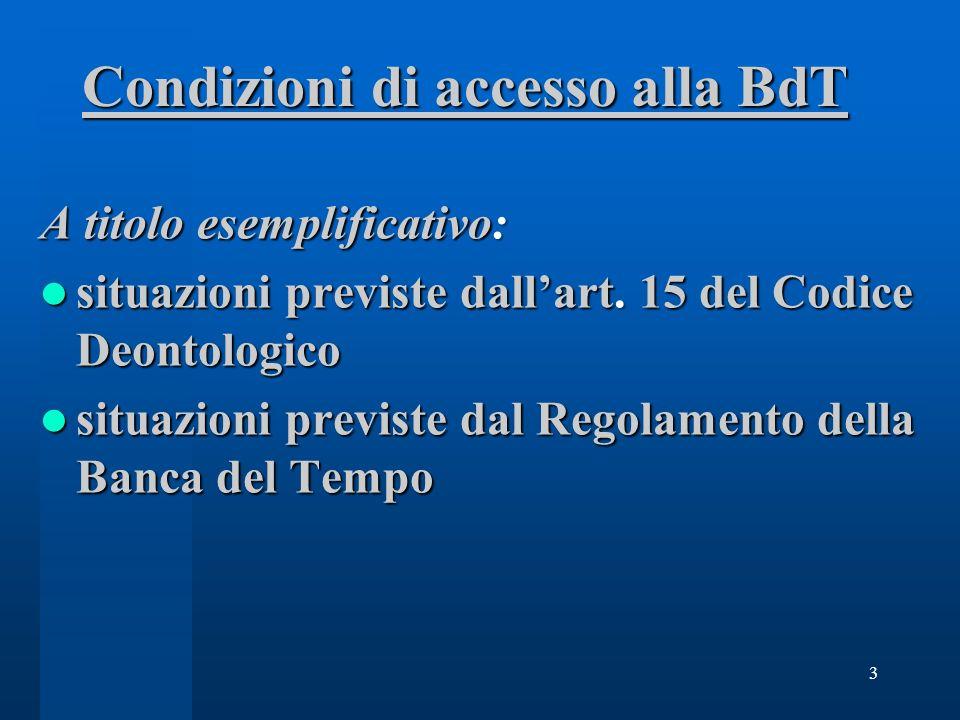Condizioni di accesso alla BdT