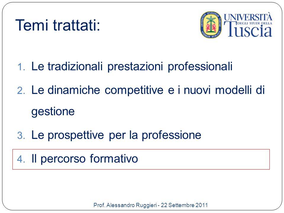 Temi trattati: Le tradizionali prestazioni professionali