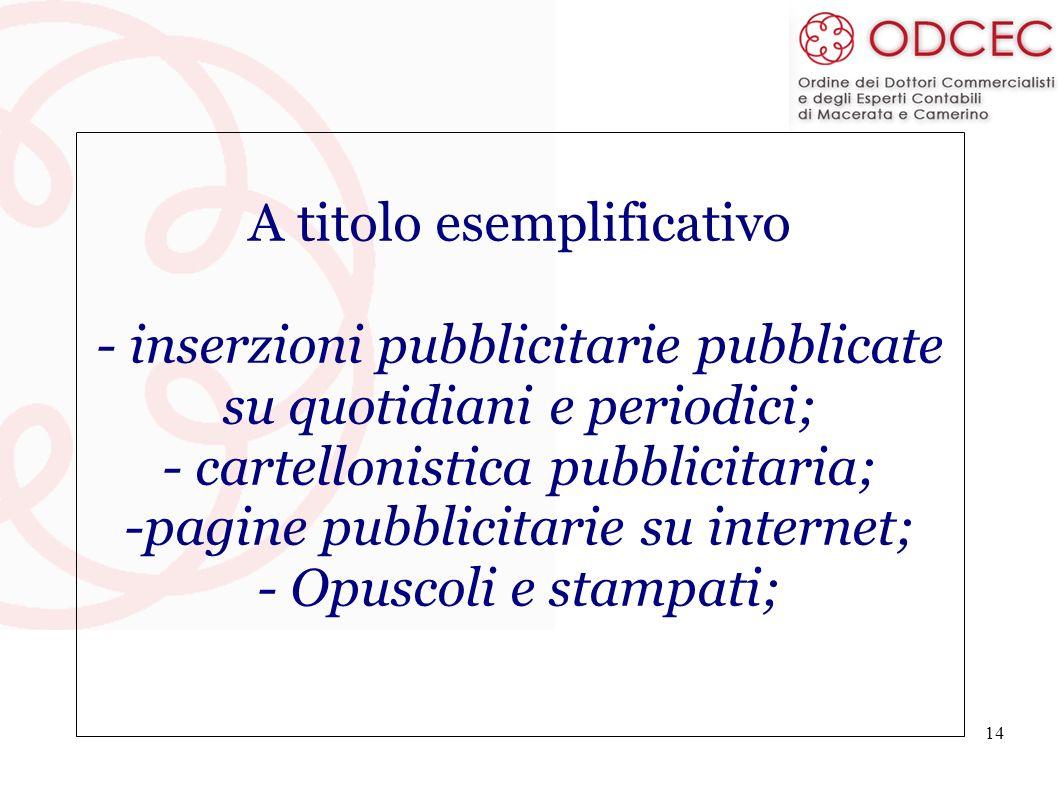 A titolo esemplificativo - inserzioni pubblicitarie pubblicate