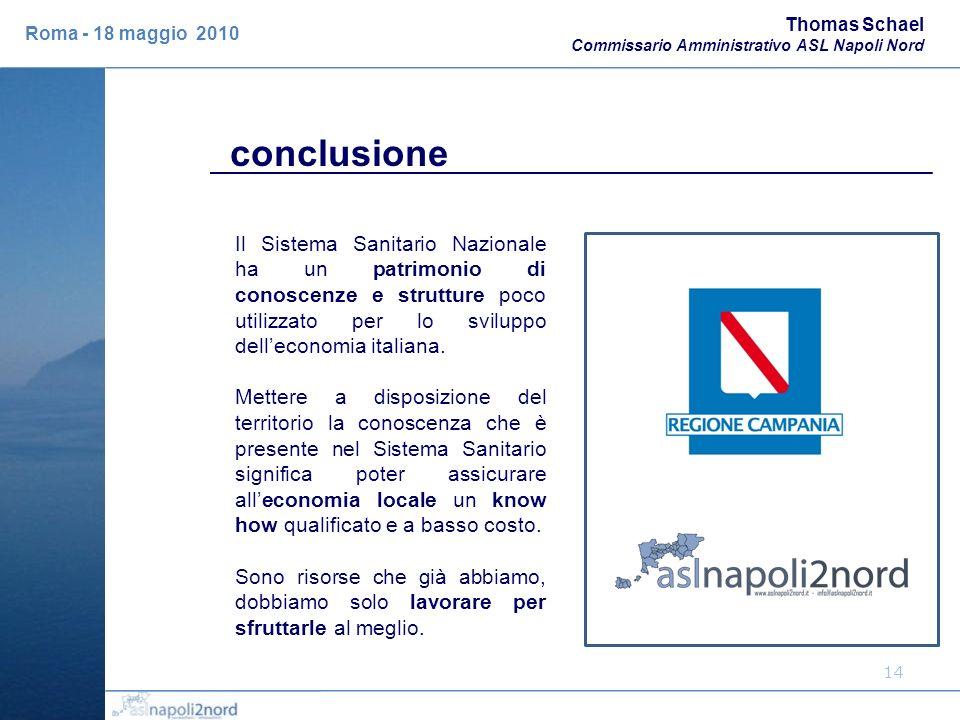 Thomas Schael Commissario Amministrativo ASL Napoli Nord. Roma - 18 maggio 2010. conclusione.