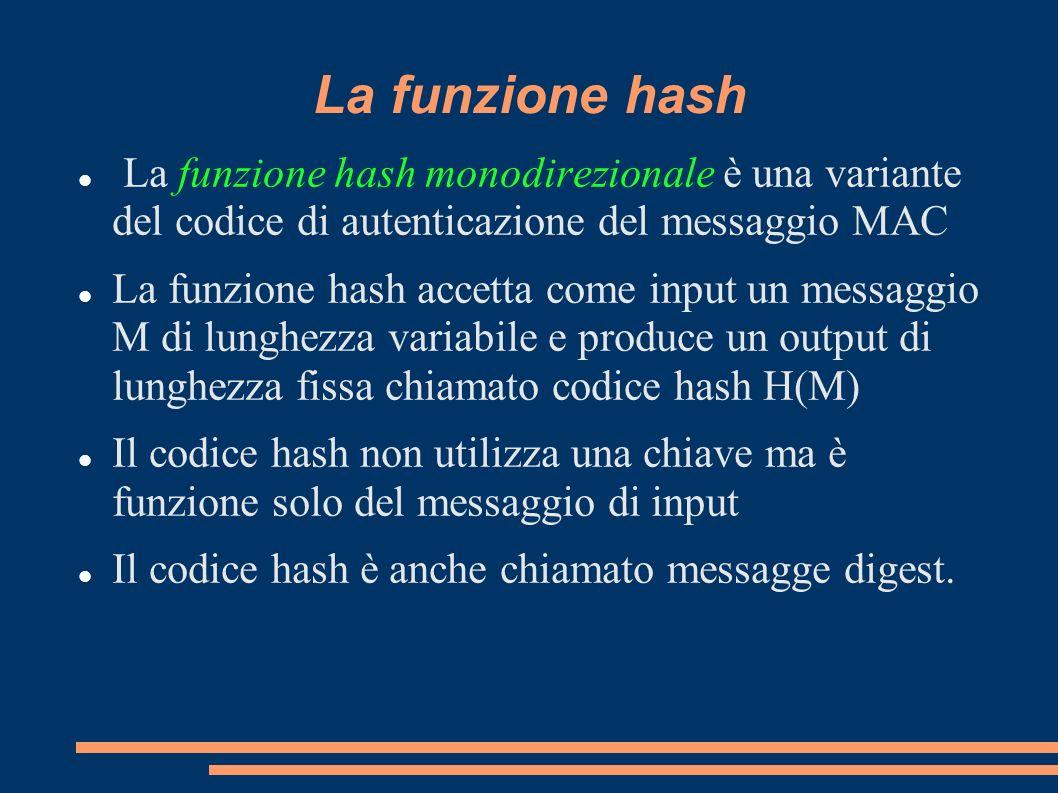 La funzione hash La funzione hash monodirezionale è una variante del codice di autenticazione del messaggio MAC.