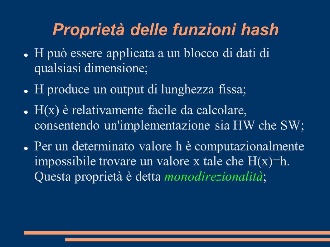 Proprietà delle funzioni hash