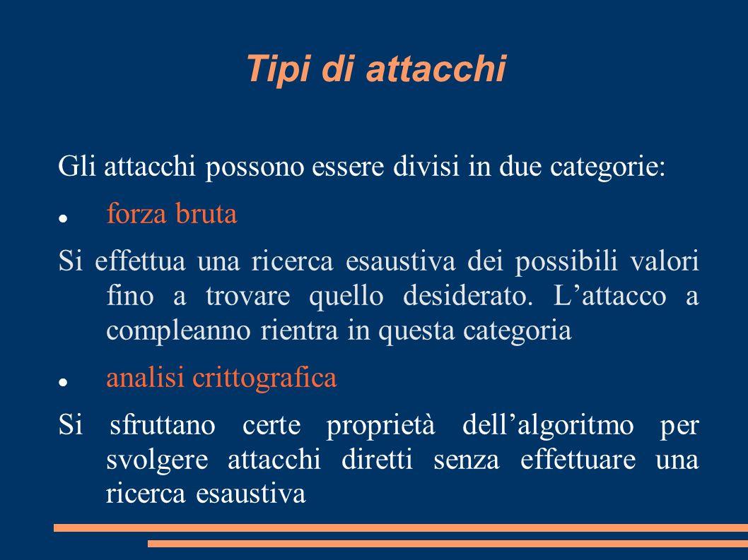 Tipi di attacchi Gli attacchi possono essere divisi in due categorie: