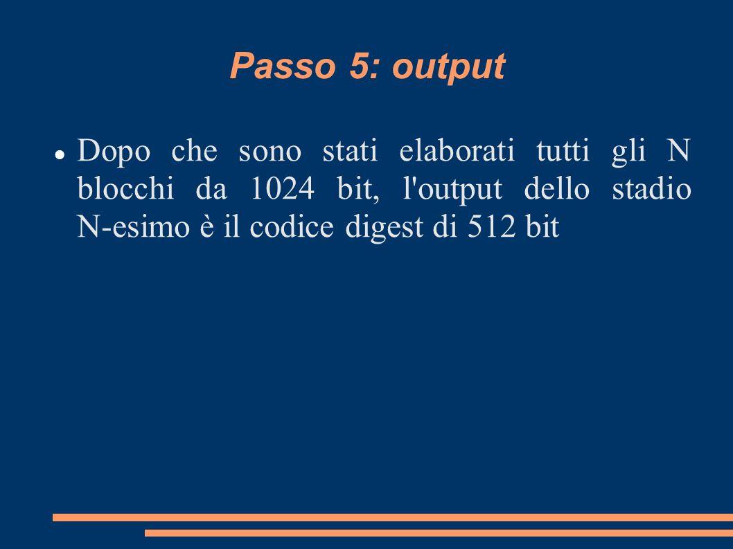 Passo 5: output Dopo che sono stati elaborati tutti gli N blocchi da 1024 bit, l output dello stadio N-esimo è il codice digest di 512 bit.
