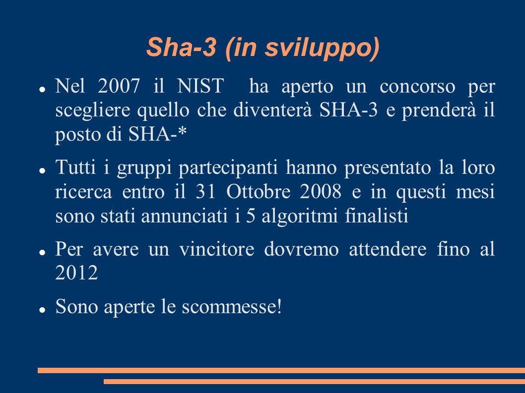 Sha-3 (in sviluppo) Nel 2007 il NIST ha aperto un concorso per scegliere quello che diventerà SHA-3 e prenderà il posto di SHA-*