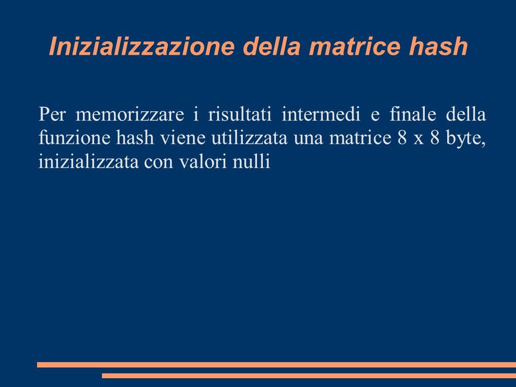 Inizializzazione della matrice hash