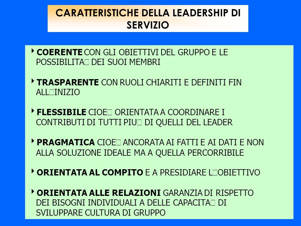 CARATTERISTICHE DELLA LEADERSHIP DI SERVIZIO