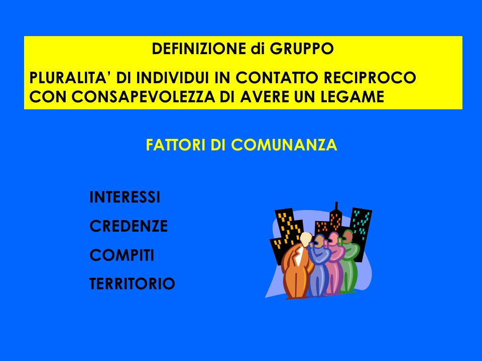 DEFINIZIONE di GRUPPO PLURALITA' DI INDIVIDUI IN CONTATTO RECIPROCO CON CONSAPEVOLEZZA DI AVERE UN LEGAME.