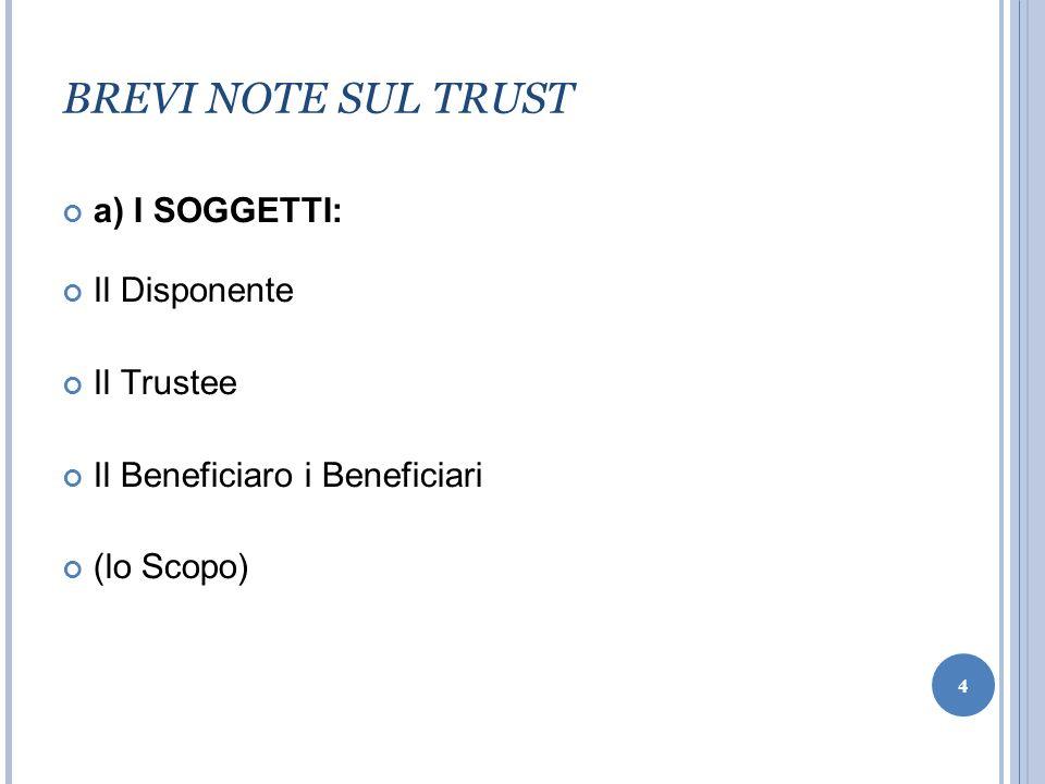 BREVI NOTE SUL TRUST a) I SOGGETTI: Il Disponente Il Trustee