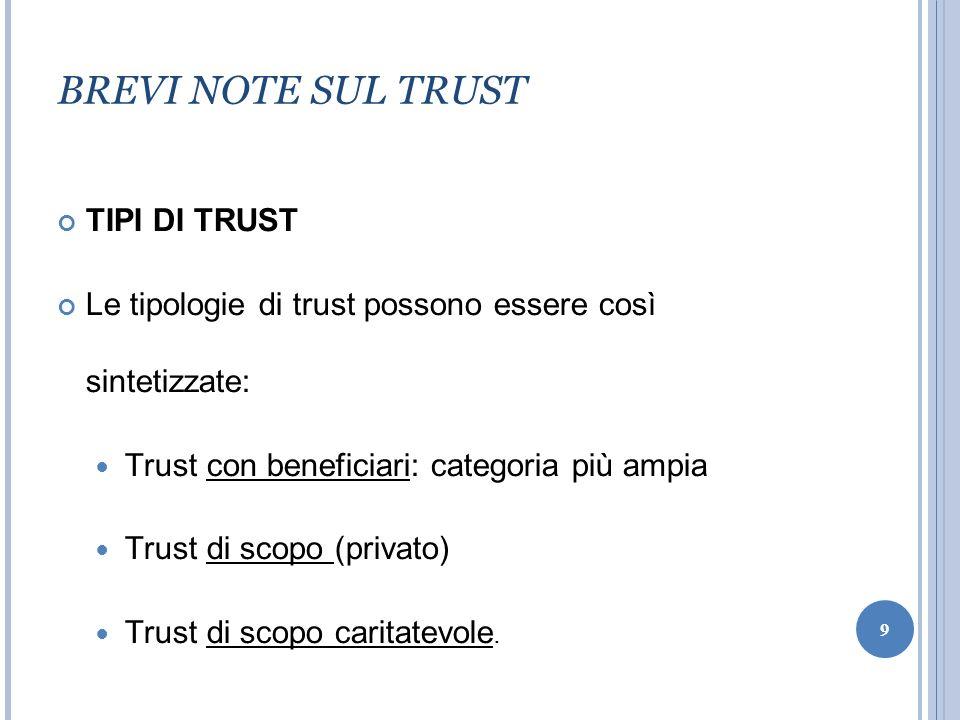 BREVI NOTE SUL TRUST TIPI DI TRUST