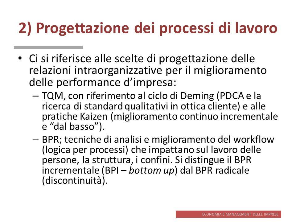 2) Progettazione dei processi di lavoro