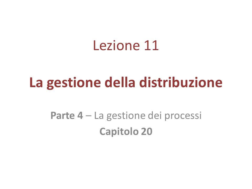 Lezione 11 La gestione della distribuzione