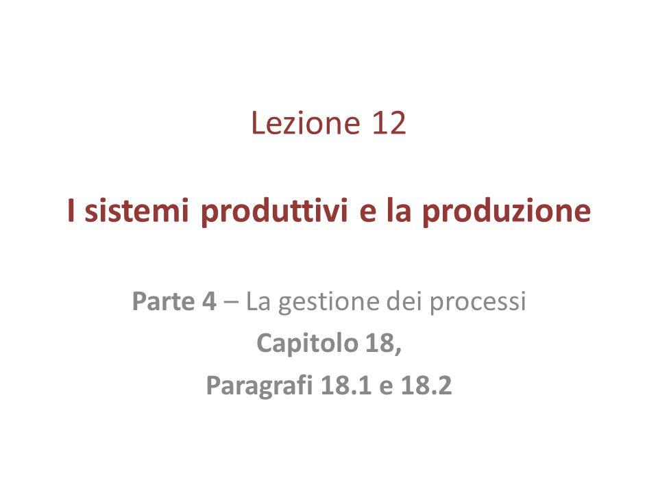 Lezione 12 I sistemi produttivi e la produzione