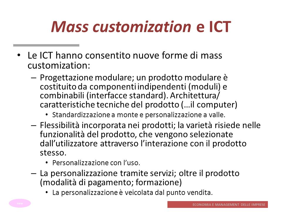 Mass customization e ICT