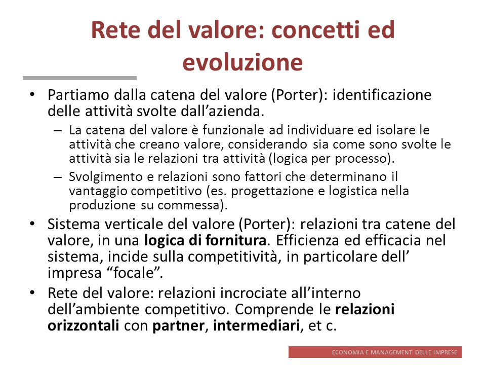 Rete del valore: concetti ed evoluzione
