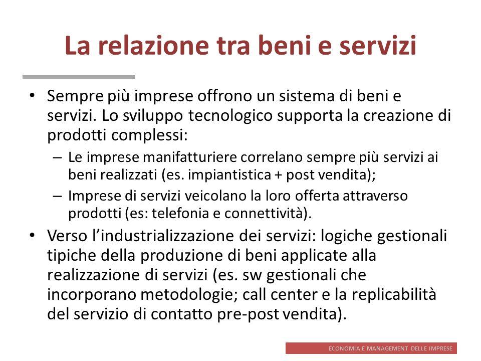La relazione tra beni e servizi