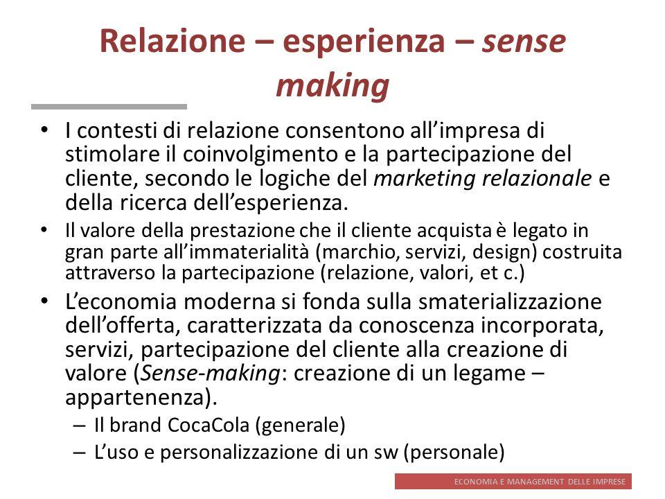 Relazione – esperienza – sense making