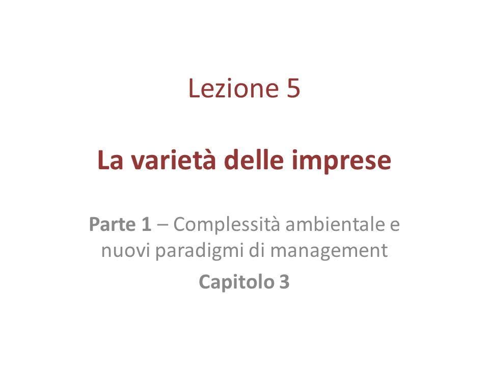 Lezione 5 La varietà delle imprese