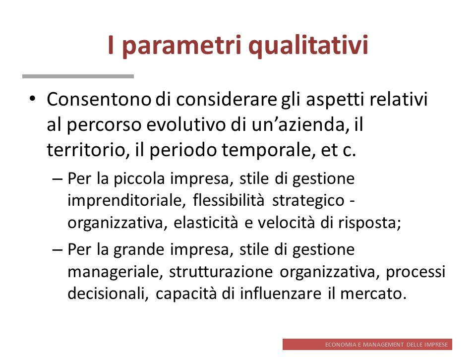I parametri qualitativi