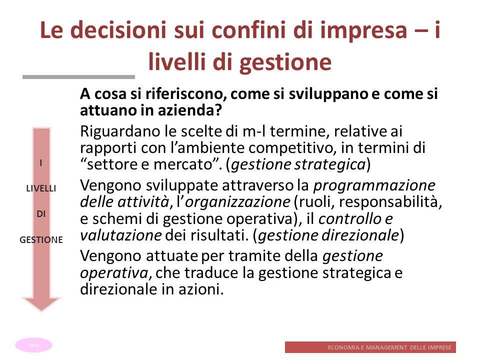 Le decisioni sui confini di impresa – i livelli di gestione