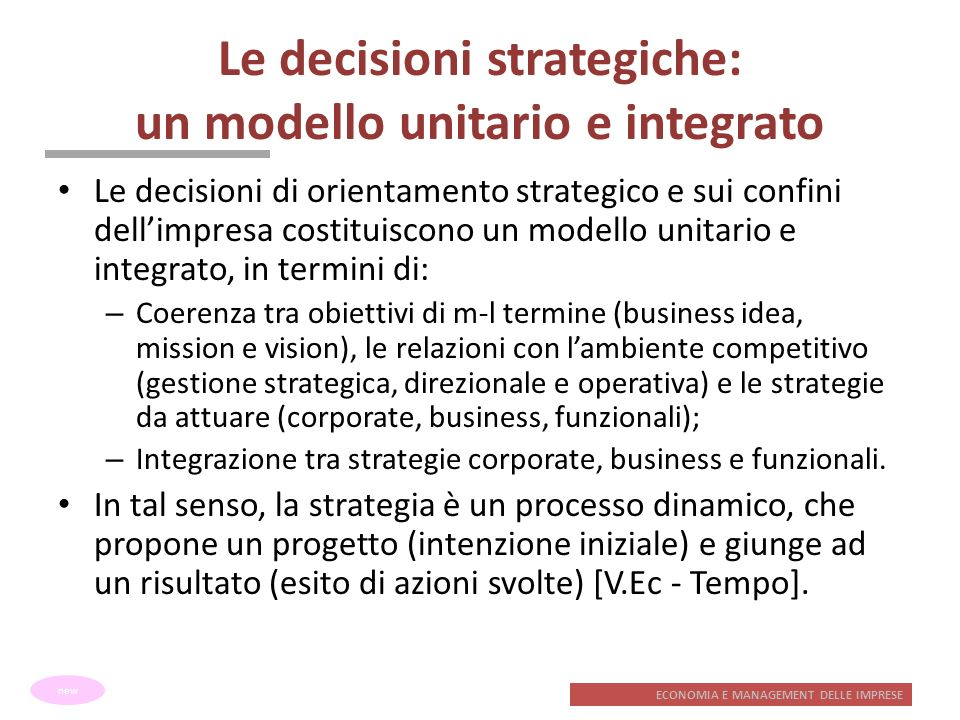 Le decisioni strategiche: un modello unitario e integrato