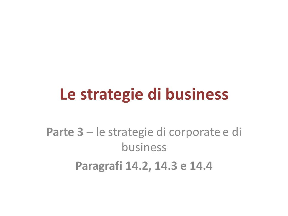 Le strategie di business