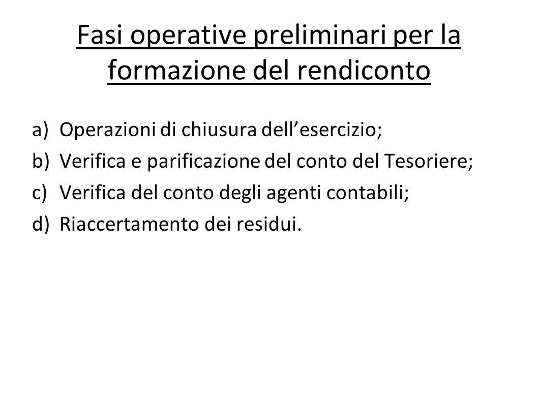 Fasi operative preliminari per la formazione del rendiconto
