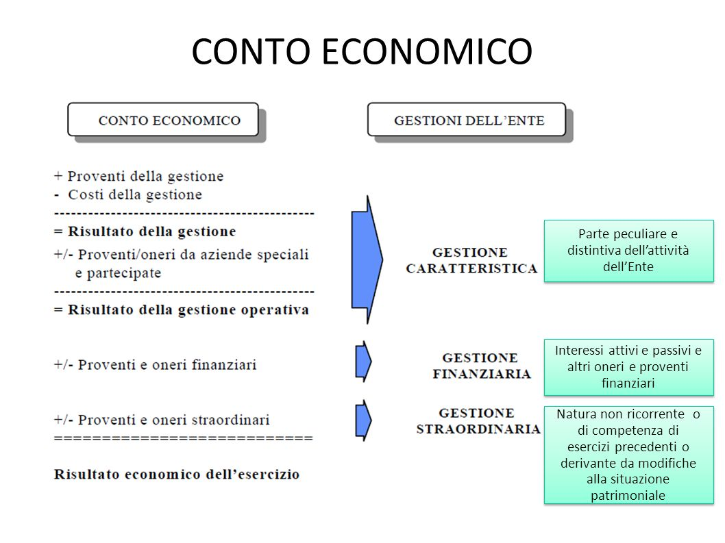 CONTO ECONOMICO Parte peculiare e distintiva dell'attività dell'Ente