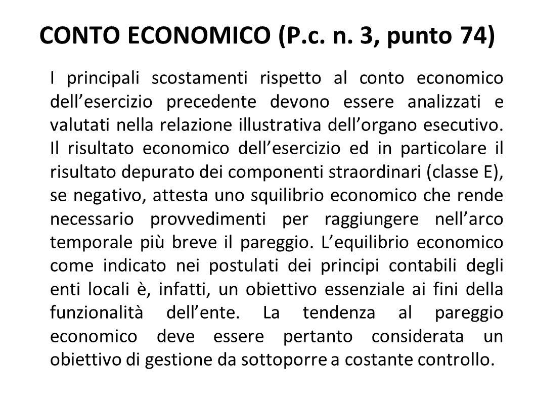CONTO ECONOMICO (P.c. n. 3, punto 74)