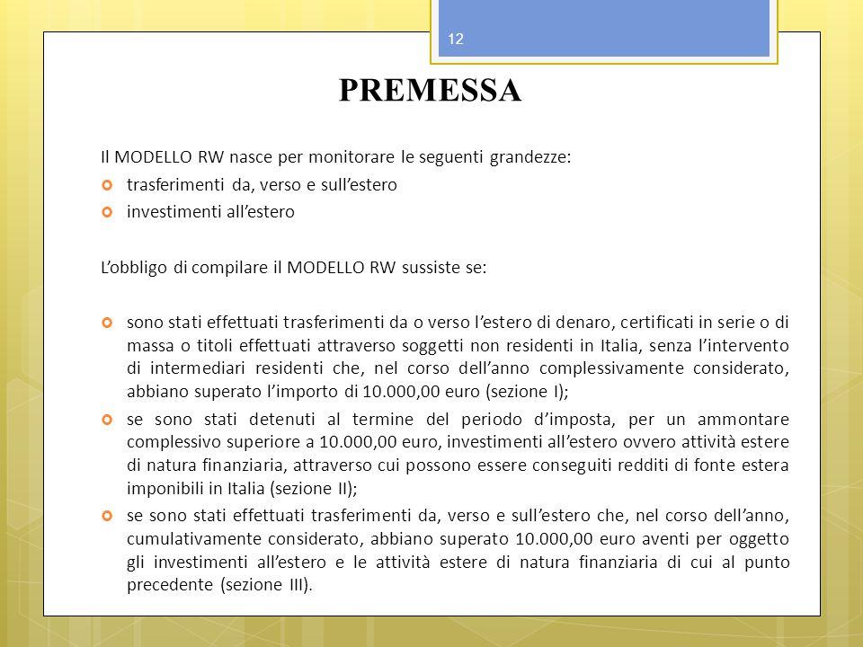 PREMESSA Il MODELLO RW nasce per monitorare le seguenti grandezze: