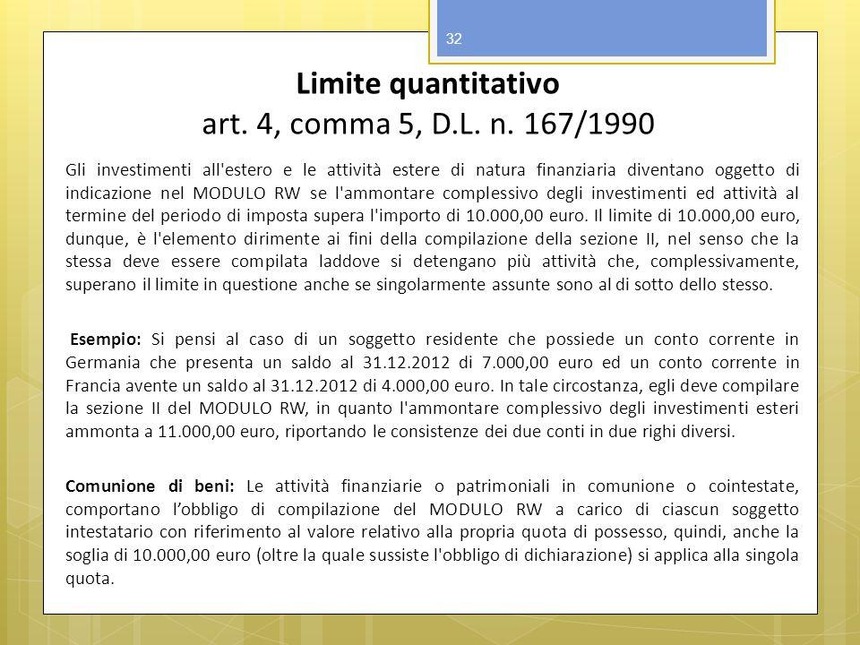 Limite quantitativo art. 4, comma 5, D.L. n. 167/1990