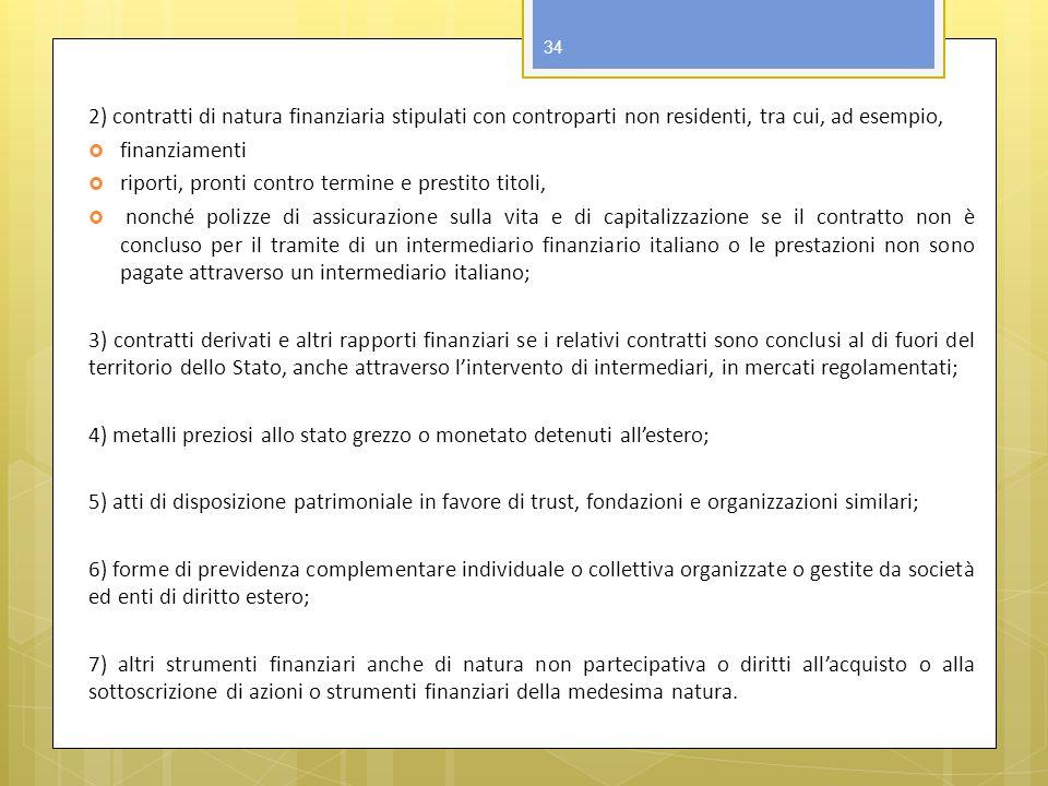 2) contratti di natura finanziaria stipulati con controparti non residenti, tra cui, ad esempio,