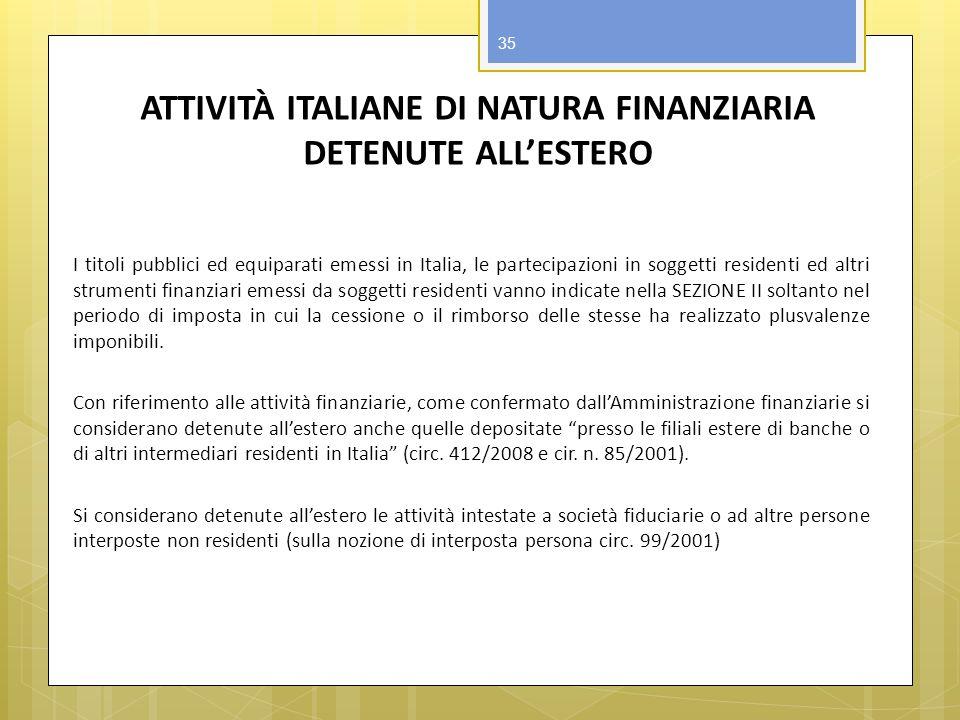 ATTIVITÀ ITALIANE DI NATURA FINANZIARIA DETENUTE ALL'ESTERO