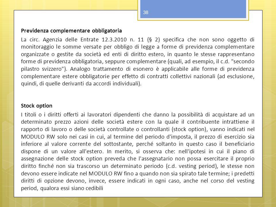 Previdenza complementare obbligatoria La circ. Agenzia delle Entrate 12.3.2010 n.